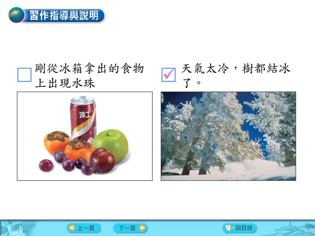 剛從冰箱拿出的食物上出現水珠 天氣太冷,樹都結冰了。 
