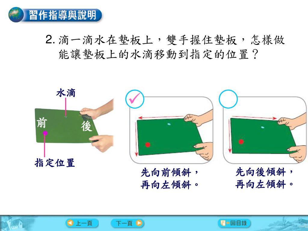  滴一滴水在墊板上,雙手握住墊板,怎樣做能讓墊板上的水滴移動到指定的位置? 前 後 水滴 指定位置 先向前傾斜, 先向後傾斜,