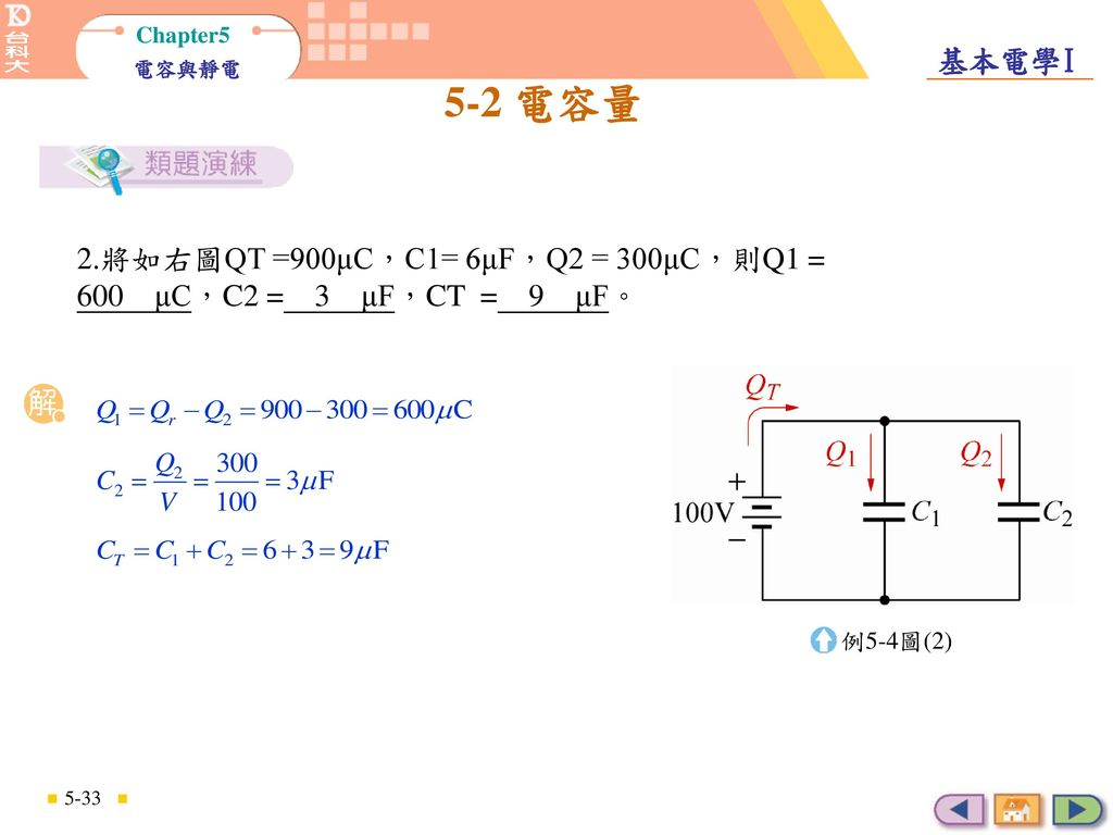 2.將如右圖QT =900μC,C1= 6μF,Q2 = 300μC,則Q1 = 600 μC,C2 = 3 μF,CT = 9 μF。