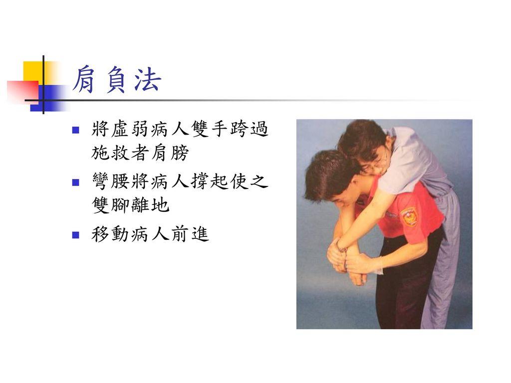 肩負法 將虛弱病人雙手跨過施救者肩膀 彎腰將病人撐起使之雙腳離地 移動病人前進