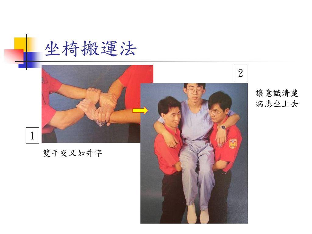 坐椅搬運法 2 讓意識清楚病患坐上去 1 雙手交叉如井字
