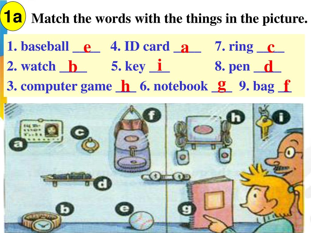 1a e a c b i d g h f Match the words with the things in the picture.
