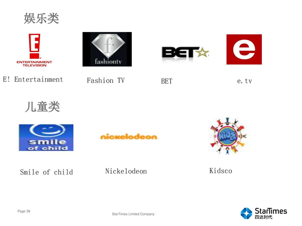 娱乐类 儿童类 E! Entertainment Fashion TV BET e.tv Nickelodeon Kidsco