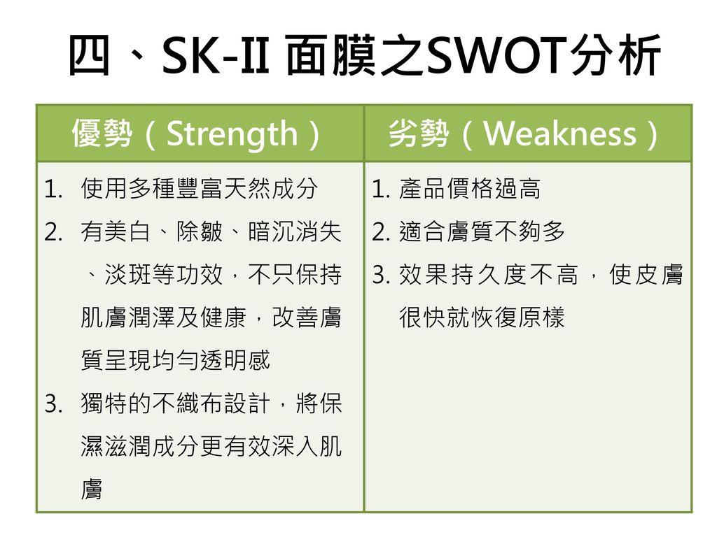 四、SK-II 面膜之SWOT分析 優勢(Strength) 劣勢(Weakness) 使用多種豐富天然成分