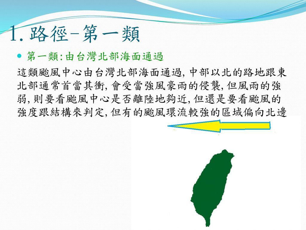 1.路徑-第一類 第一類:由台灣北部海面通過.