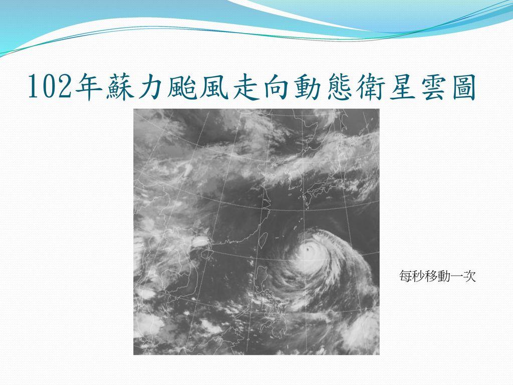 102年蘇力颱風走向動態衛星雲圖 每秒移動一次