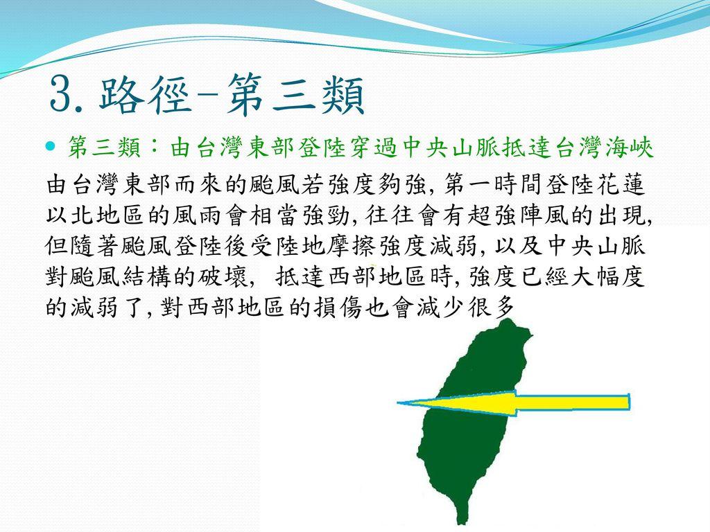 3.路徑-第三類 第三類:由台灣東部登陸穿過中央山脈抵達台灣海峽