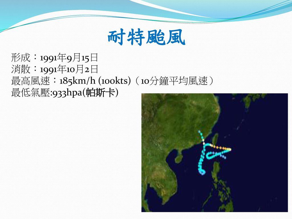 耐特颱風 形成:1991年9月15日 消散:1991年10月2日 最高風速:185km/h (100kts)(10分鐘平均風速)