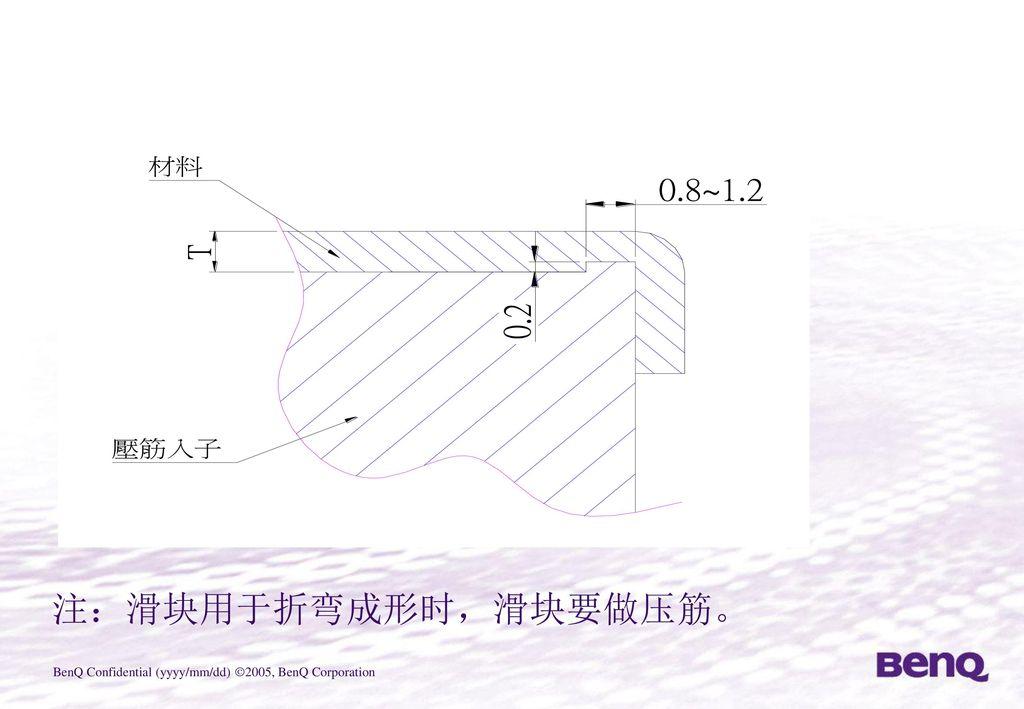 注:滑块用于折弯成形时,滑块要做压筋。