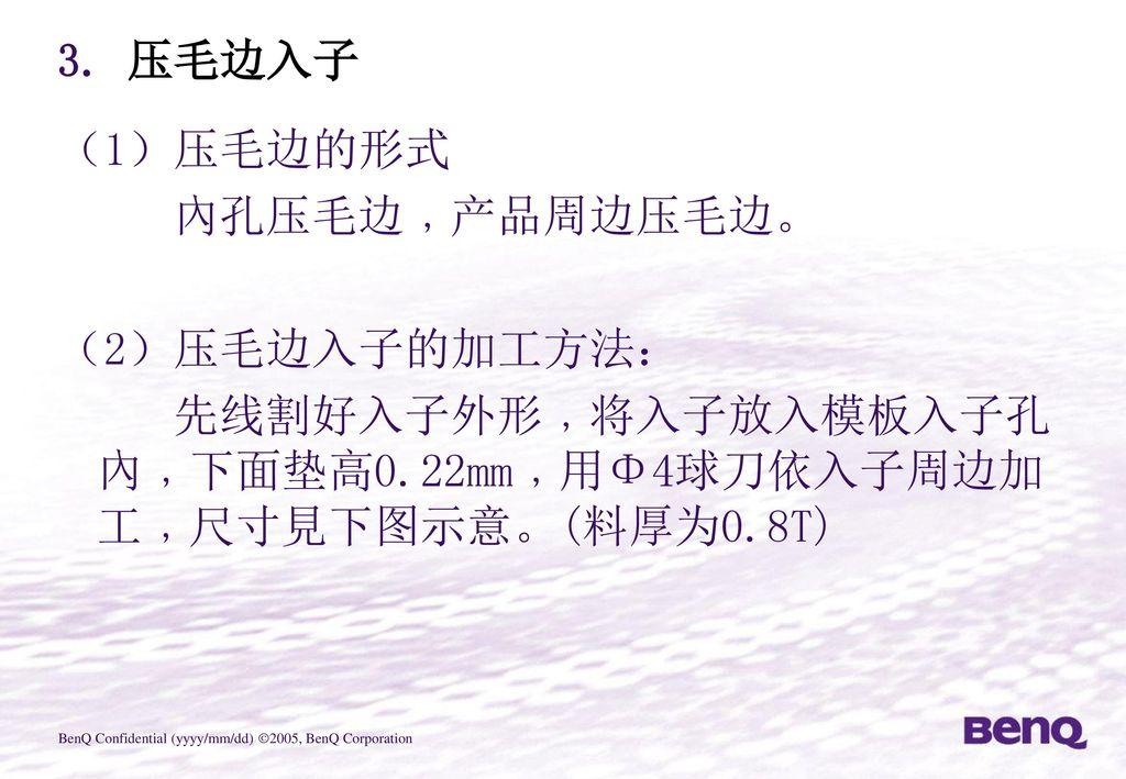 3. 压毛边入子 (1)压毛边的形式.