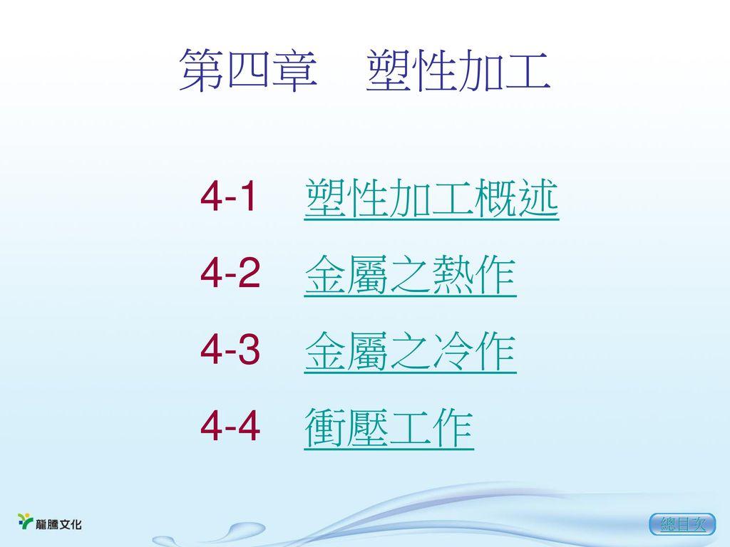 第四章 塑性加工 4-1 塑性加工概述 4-2 金屬之熱作 4-3 金屬之冷作 4-4 衝壓工作 總目次