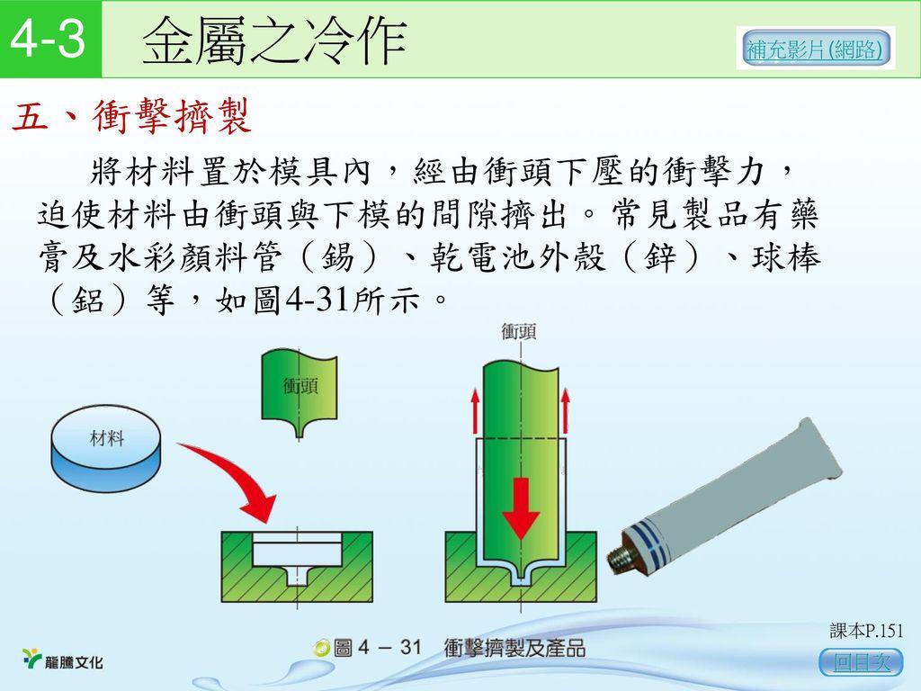 4-3 金屬之冷作 補充影片(網路) 五、衝擊擠製. 將材料置於模具內,經由衝頭下壓的衝擊力,迫使材料由衝頭與下模的間隙擠出。常見製品有藥膏及水彩顏料管(錫)、乾電池外殼(鋅)、球棒(鋁)等,如圖4-31所示。