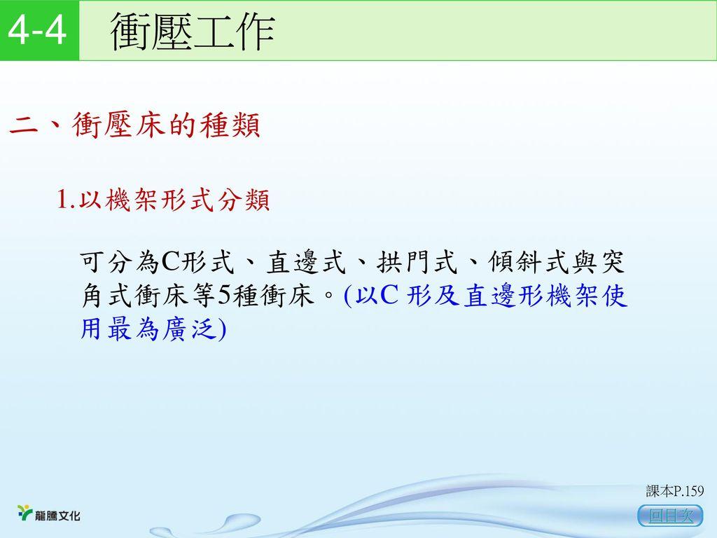4-4 衝壓工作 二、衝壓床的種類 1.以機架形式分類