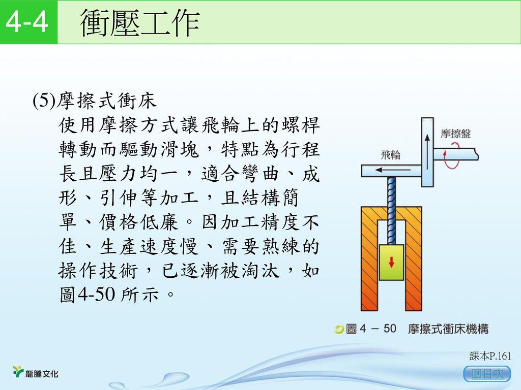 4-4 衝壓工作 (5)摩擦式衝床. 使用摩擦方式讓飛輪上的螺桿 轉動而驅動滑塊,特點為行程 長且壓力均一,適合彎曲、成 形、引伸等加工,且結構簡 單、價格低廉。因加工精度不 佳、生產速度慢、需要熟練的 操作技術,已逐漸被淘汰,如 圖4-50 所示。