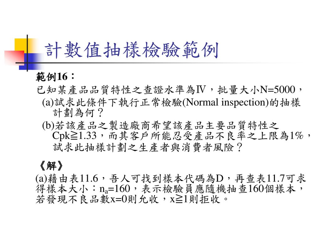 計數值抽樣檢驗範例 範例16: 已知某產品品質特性之查證水準為Ⅳ,批量大小N=5000,