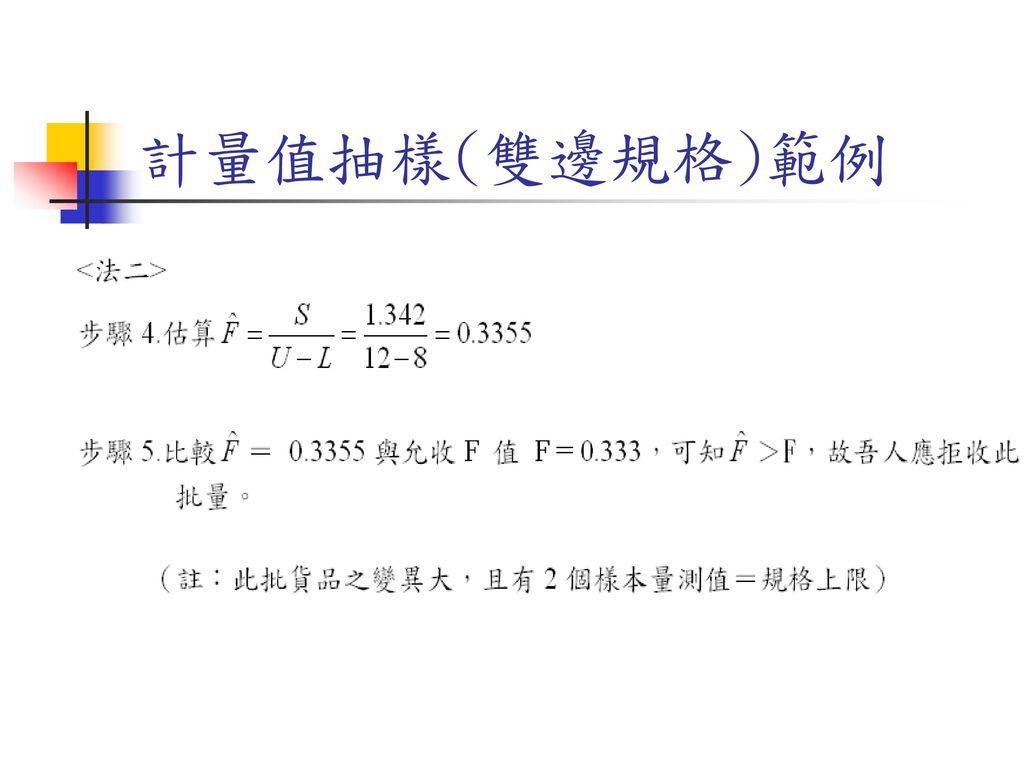 計量值抽樣(雙邊規格)範例