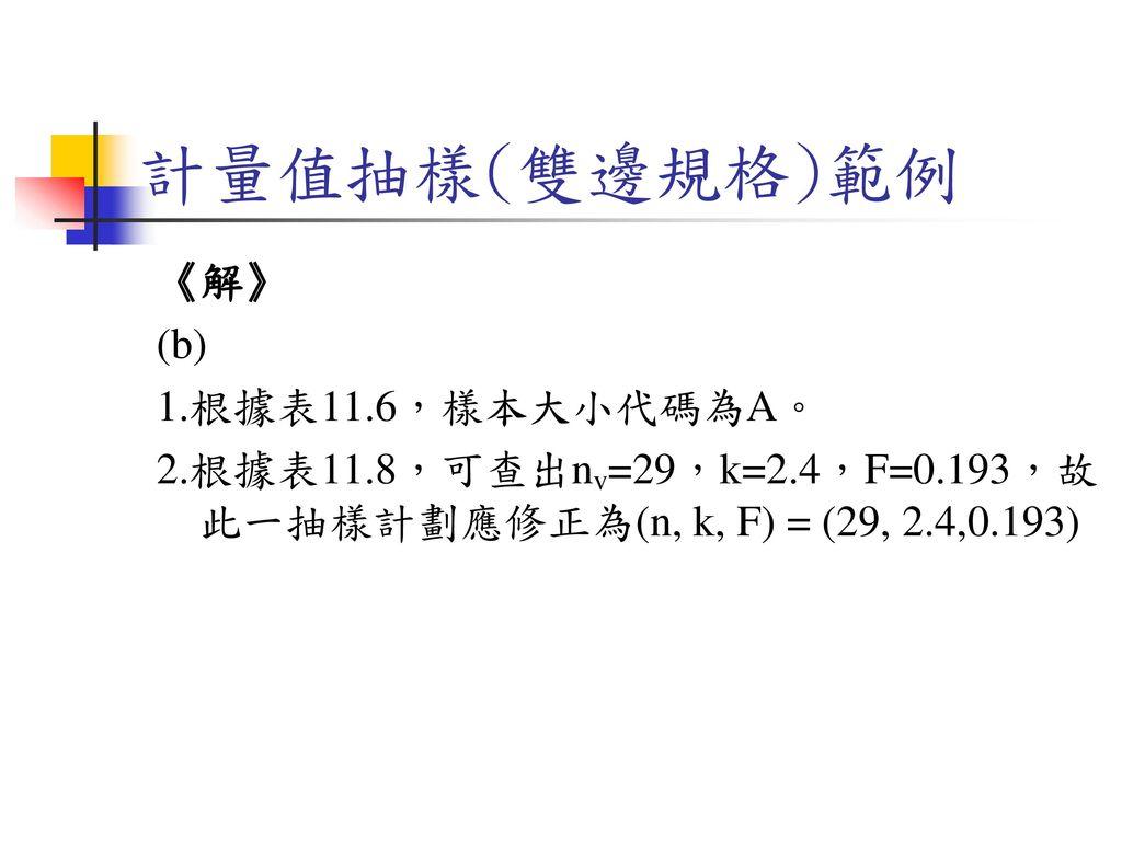 計量值抽樣(雙邊規格)範例 《解》 (b) 1.根據表11.6,樣本大小代碼為A。