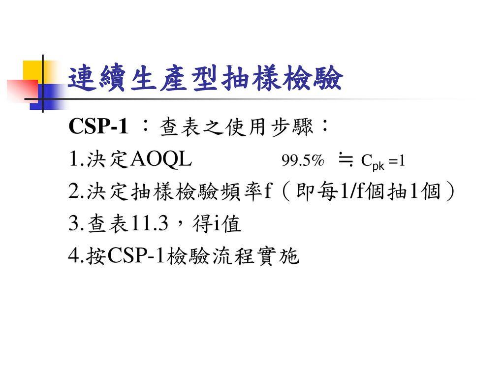 連續生產型抽樣檢驗 CSP-1 :查表之使用步驟: 1.決定AOQL 99.5% ≒ Cpk =1