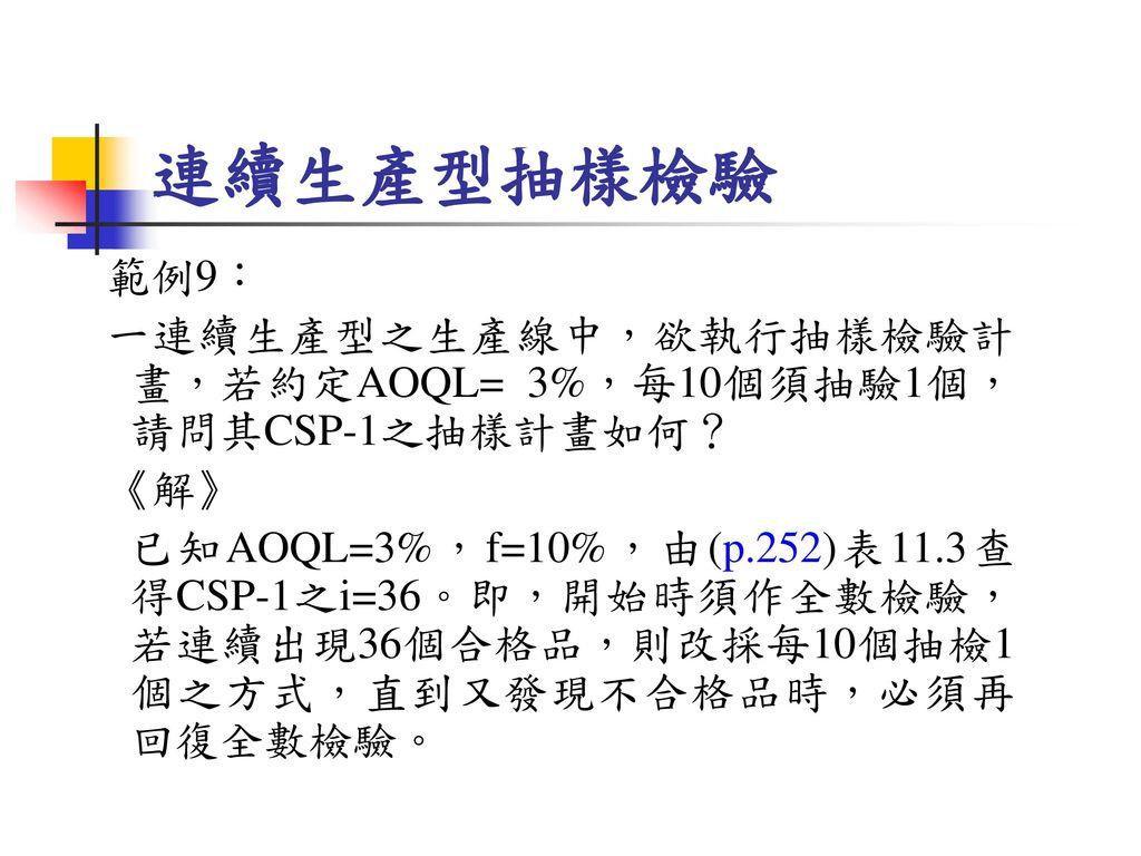 連續生產型抽樣檢驗 範例9: 一連續生產型之生產線中,欲執行抽樣檢驗計畫,若約定AOQL= 3%,每10個須抽驗1個,請問其CSP-1之抽樣計畫如何? 《解》