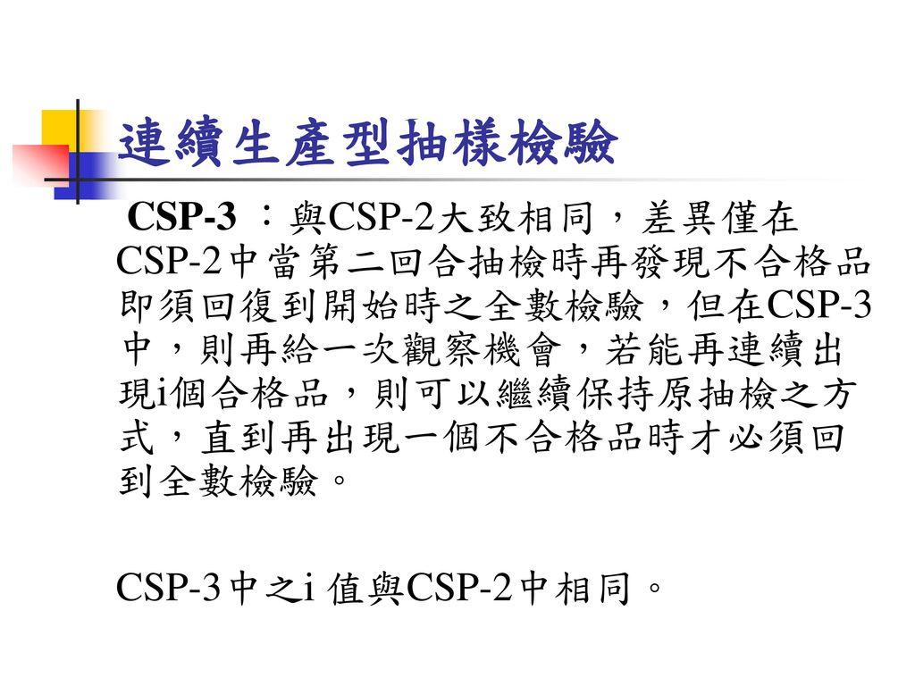 連續生產型抽樣檢驗 CSP-3 :與CSP-2大致相同,差異僅在CSP-2中當第二回合抽檢時再發現不合格品即須回復到開始時之全數檢驗,但在CSP-3中,則再給一次觀察機會,若能再連續出現i個合格品,則可以繼續保持原抽檢之方式,直到再出現一個不合格品時才必須回到全數檢驗。