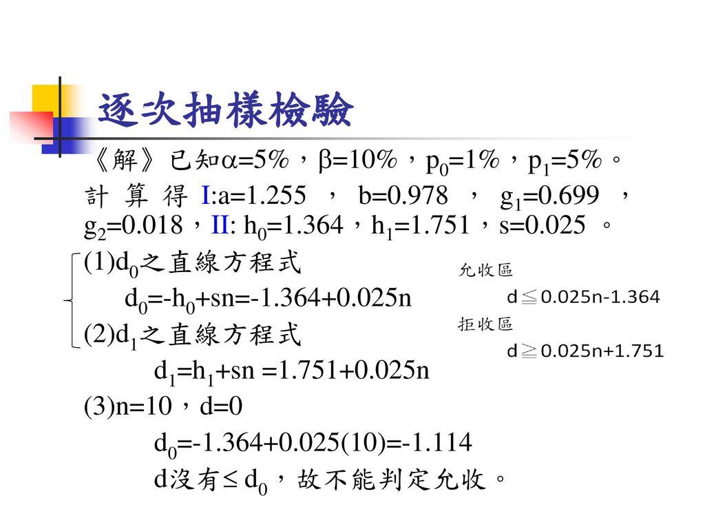 逐次抽樣檢驗 《解》已知=5%,=10%,p0=1%,p1=5%。