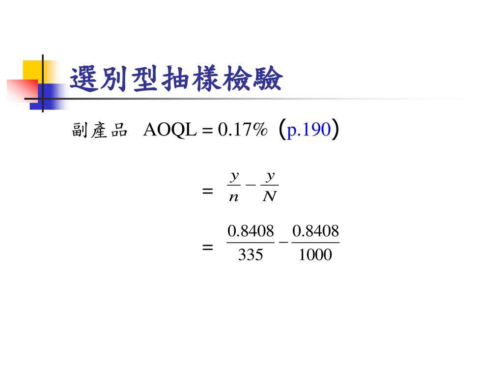 選別型抽樣檢驗 副產品 AOQL = 0.17% (p.190) =