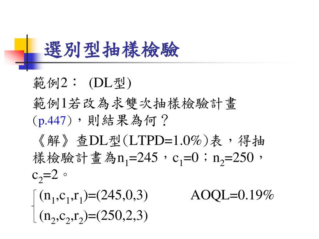 選別型抽樣檢驗 範例2: (DL型) 範例1若改為求雙次抽樣檢驗計畫(p.447),則結果為何?