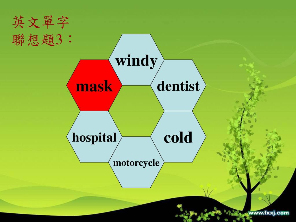 英文單字 聯想題3: windy mask dentist hospital cold motorcycle