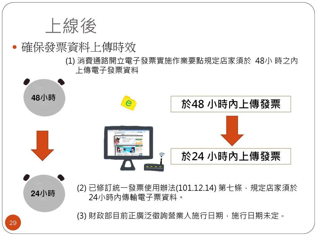上線後 確保發票資料上傳時效 於48 小時內上傳發票 於24 小時內上傳發票