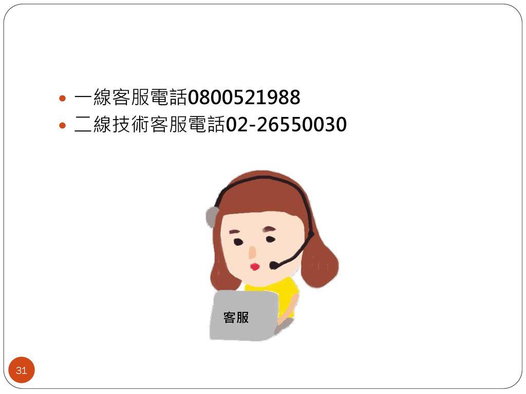 一線客服電話0800521988 二線技術客服電話02-26550030 客服 31