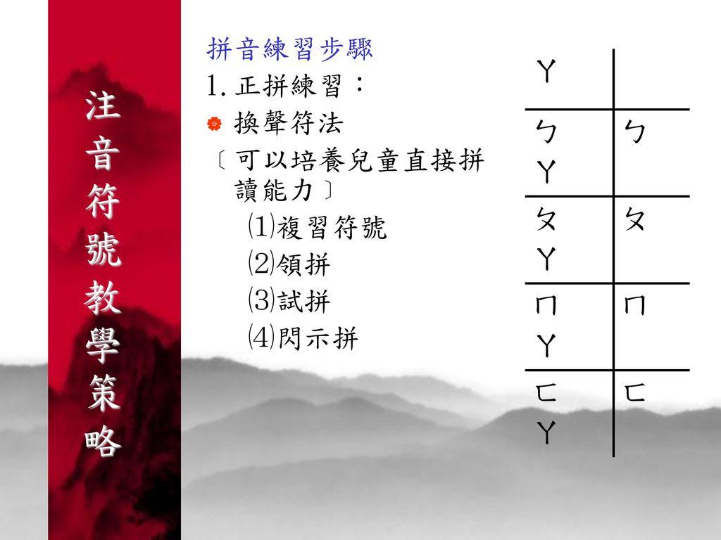 注 音 符 號 教 學 策 略 ㄚ 拼音練習步驟 1.正拼練習: ㄅ 換聲符法 ﹝可以培養兒童直接拼讀能力﹞ ㄆ ⑴複習符號 ⑵領拼 ㄇ