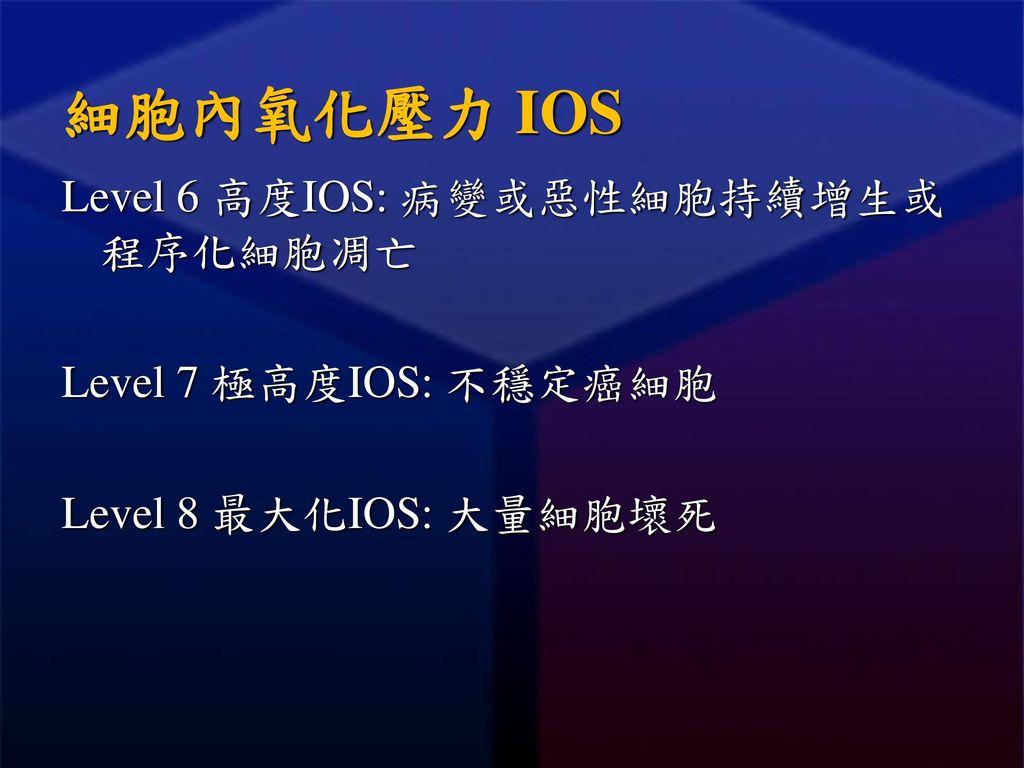 細胞內氧化壓力 IOS Level 6 高度IOS: 病變或惡性細胞持續增生或程序化細胞凋亡 Level 7 極高度IOS: 不穩定癌細胞 Level 8 最大化IOS: 大量細胞壞死