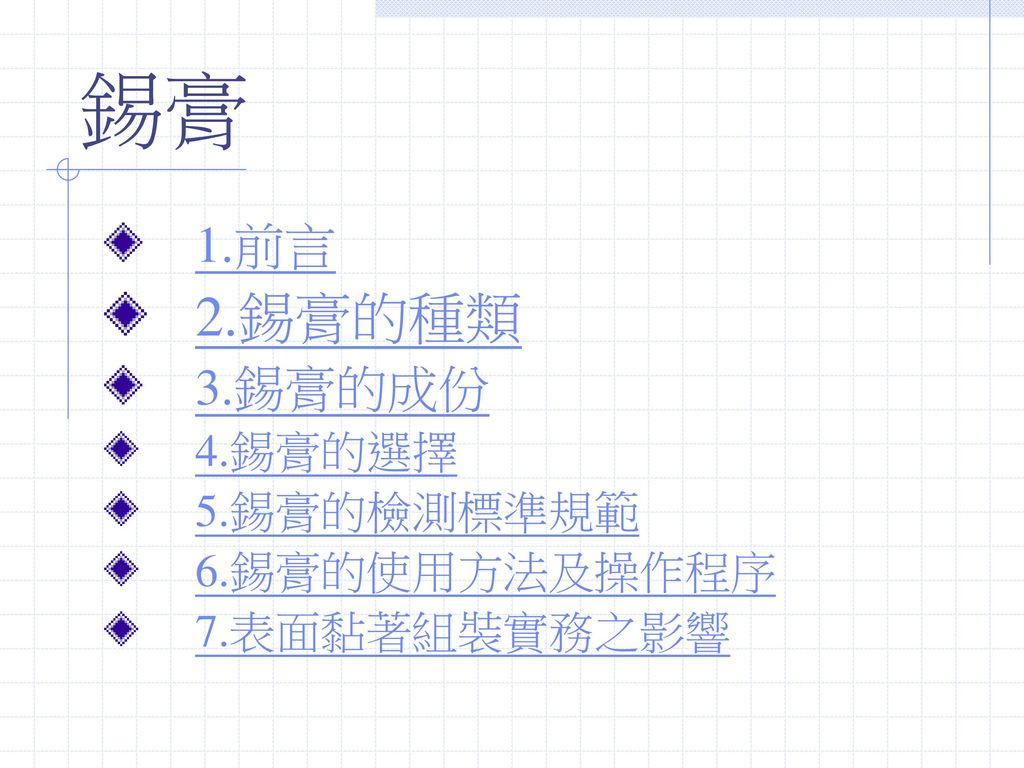 錫膏 2.錫膏的種類 1.前言 3.錫膏的成份 4.錫膏的選擇 5.錫膏的檢測標準規範 6.錫膏的使用方法及操作程序