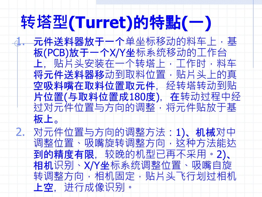 转塔型(Turret)的特點(一)