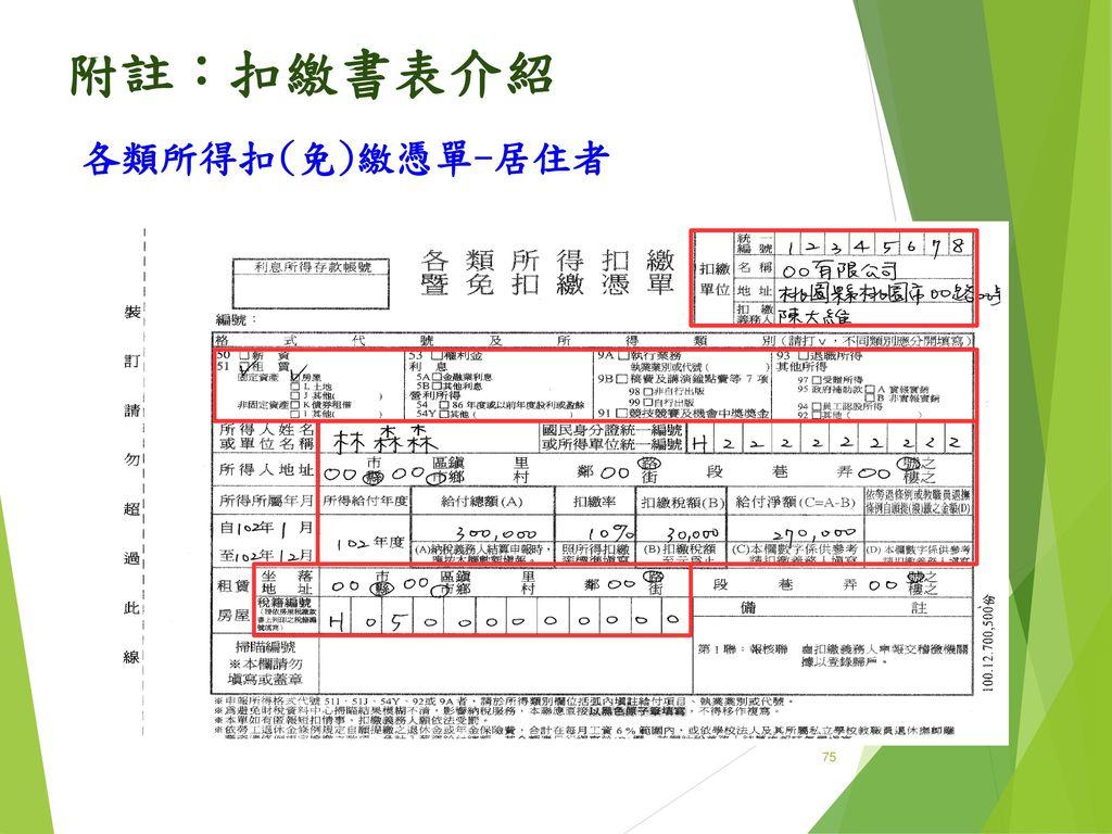 附註:扣繳書表介紹 各類所得扣(免)繳憑單-居住者 75 75 75