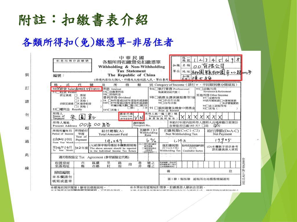 附註:扣繳書表介紹 各類所得扣(免)繳憑單-非居住者 76