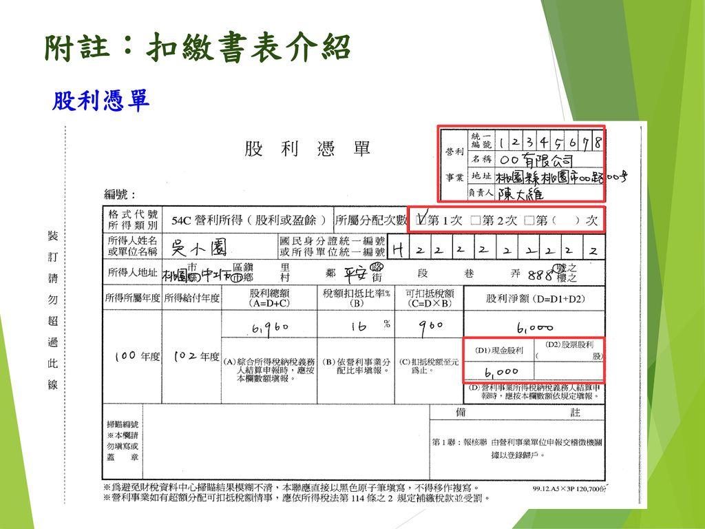 附註:扣繳書表介紹 股利憑單 78