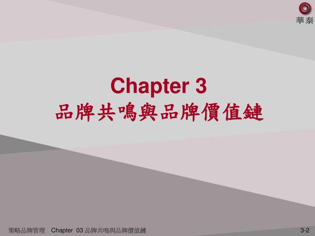 Chapter 3 品牌共鳴與品牌價值鏈 策略品牌管理 Chapter 03 品牌共鳴與品牌價值鏈