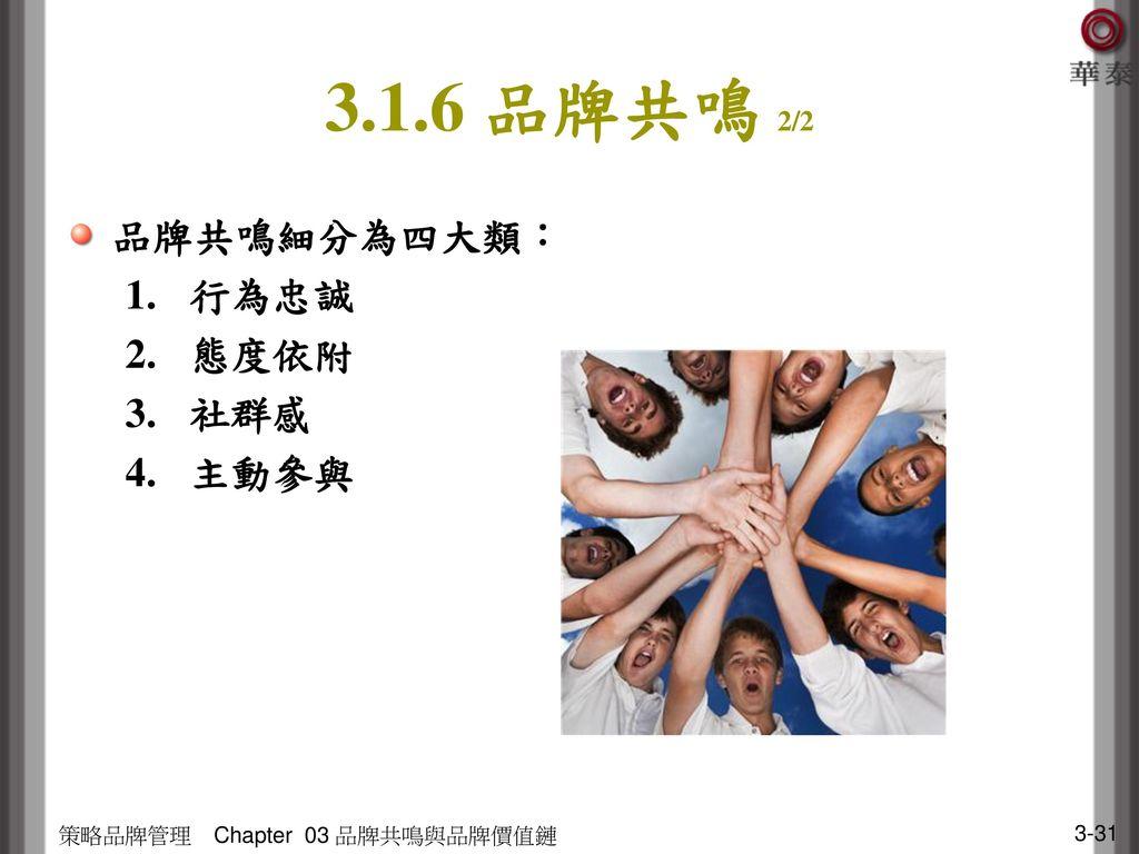 3.1.6 品牌共鳴 2/2 品牌共鳴細分為四大類: 行為忠誠 態度依附 社群感 主動參與