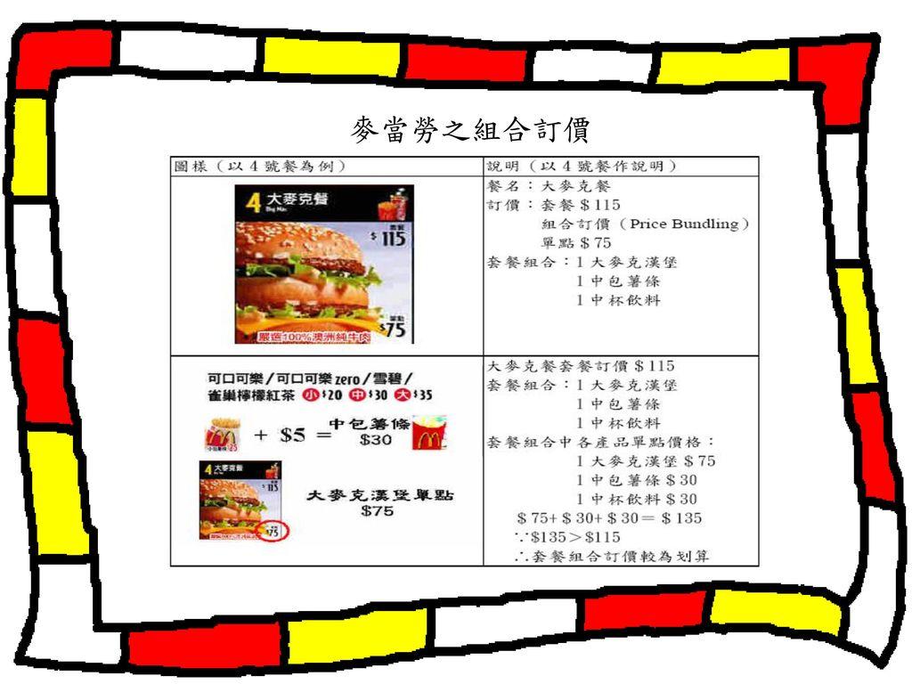 麥當勞之組合訂價