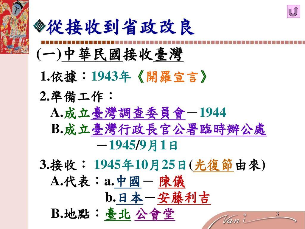 從接收到省政改良 (一)中華民國接收臺灣 1.依據:1943年《開羅宣言》