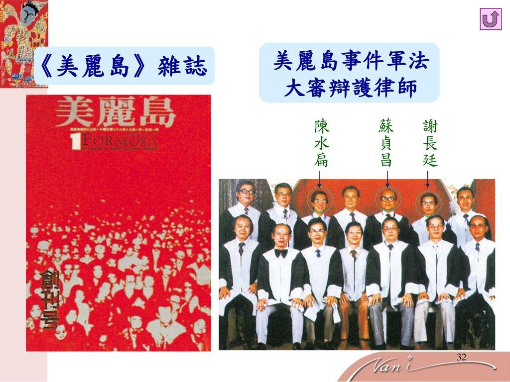 美麗島事件軍法 大審辯護律師 《美麗島》雜誌 陳水扁 蘇貞昌 謝長廷