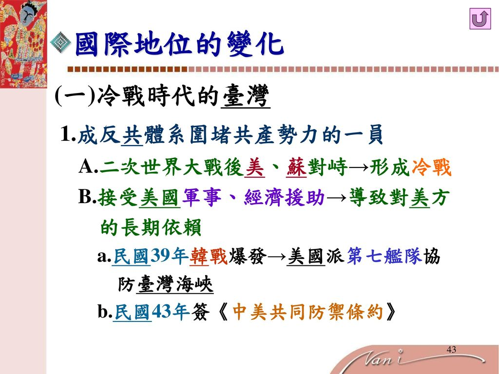國際地位的變化 (一)冷戰時代的臺灣.