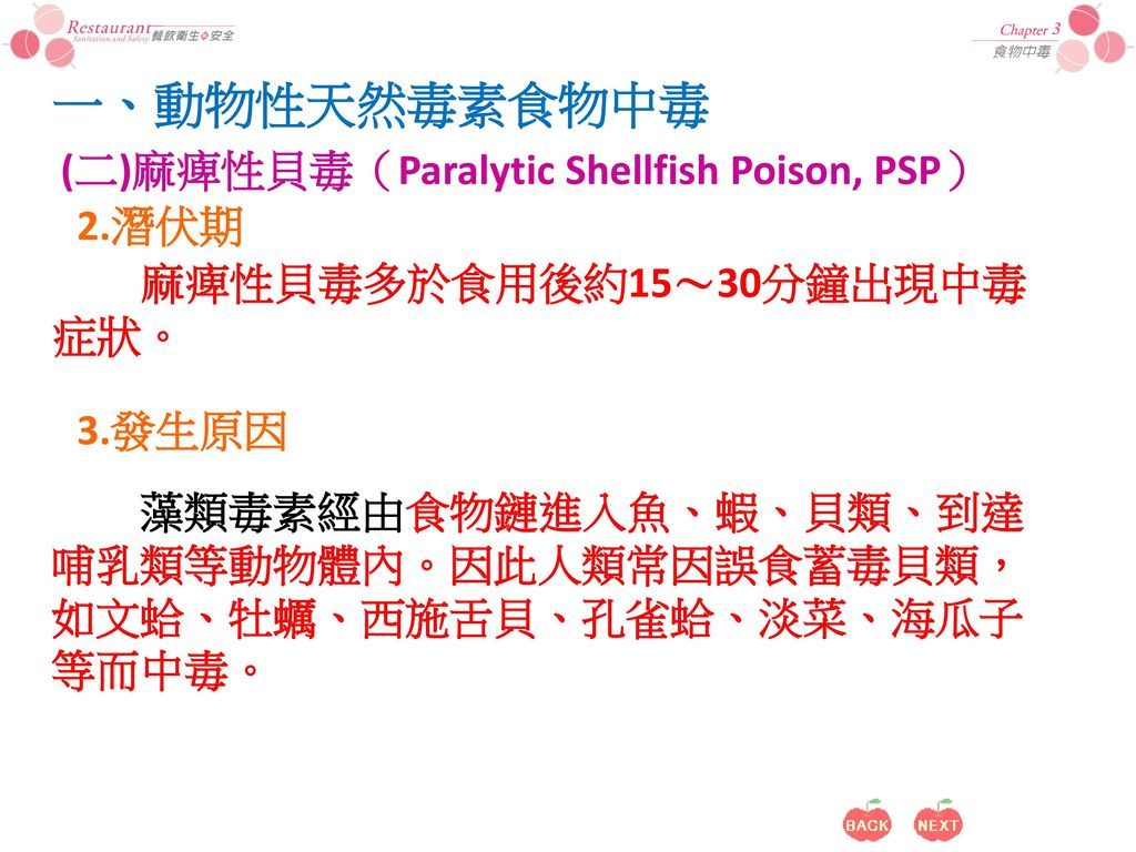 一、動物性天然毒素食物中毒 (二)麻痺性貝毒(Paralytic Shellfish Poison, PSP) 2.潛伏期