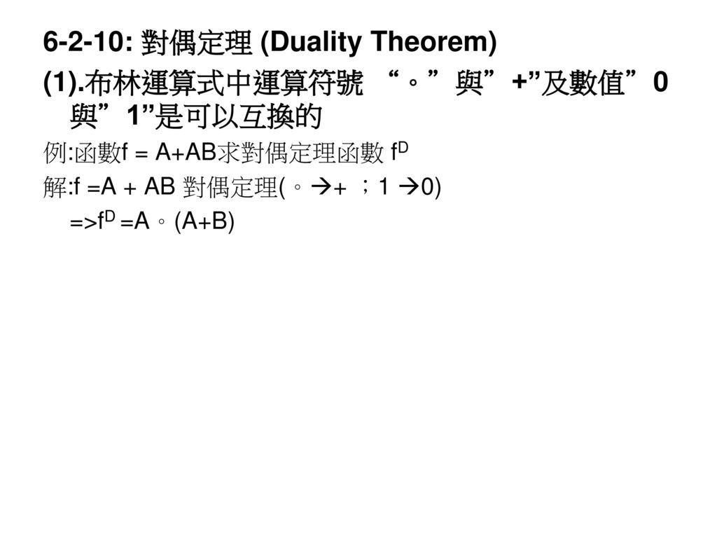 6-2-10: 對偶定理 (Duality Theorem) (1).布林運算式中運算符號 。 與 + 及數值 0與 1 是可以互換的