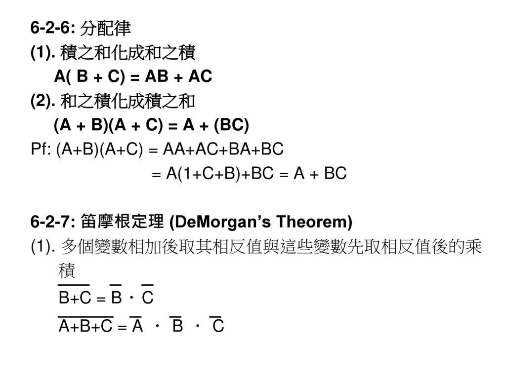 6-2-6: 分配律 (1). 積之和化成和之積. A( B + C) = AB + AC. (2). 和之積化成積之和. (A + B)(A + C) = A + (BC) Pf: (A+B)(A+C) = AA+AC+BA+BC.