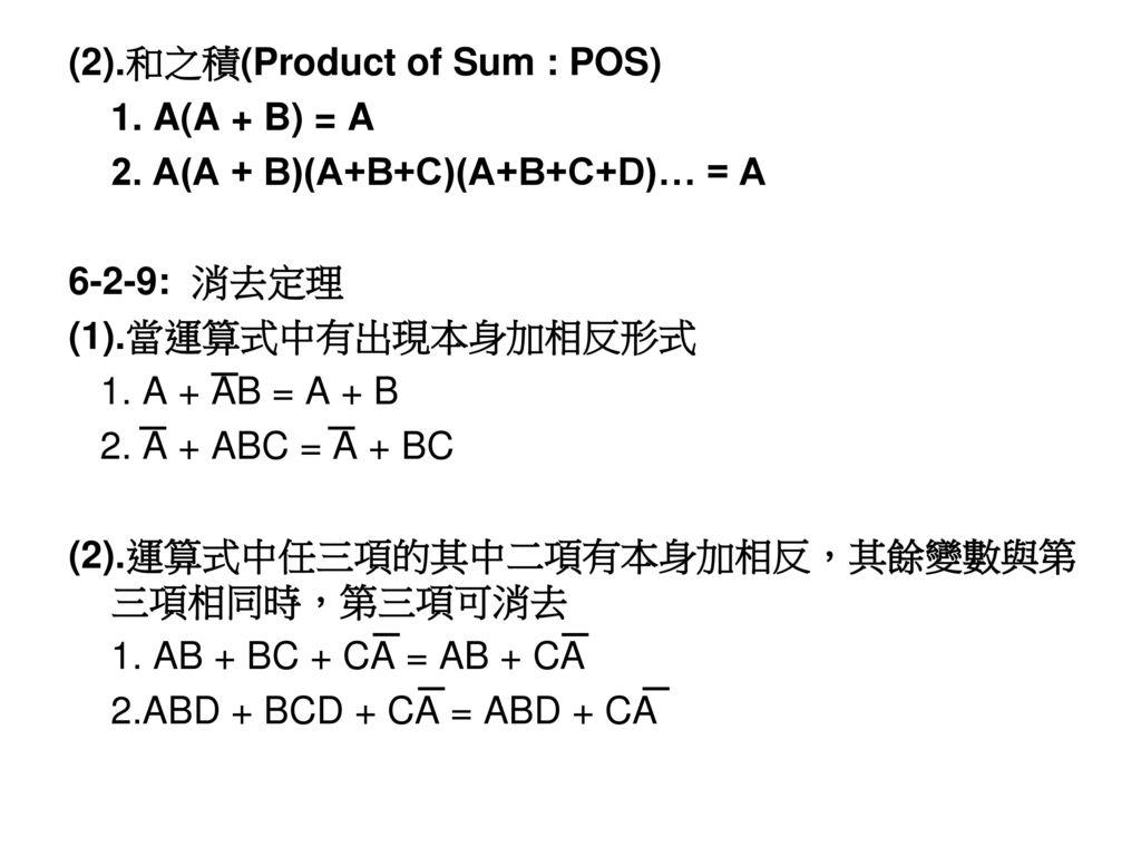 (2).和之積(Product of Sum : POS)
