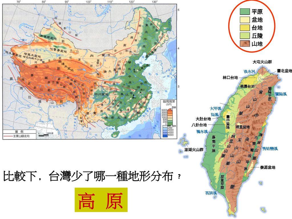 比較下﹐台灣少了哪一種地形分布﹖ 高 原