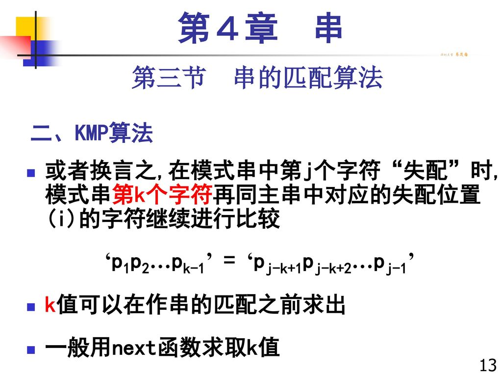 第4章 串 第三节 串的匹配算法. 二、KMP算法. 或者换言之,在模式串中第j个字符 失配 时, 模式串第k个字符再同主串中对应的失配位置 (i)的字符继续进行比较. 'p1p2…pk-1' = 'pj-k+1pj-k+2…pj-1'