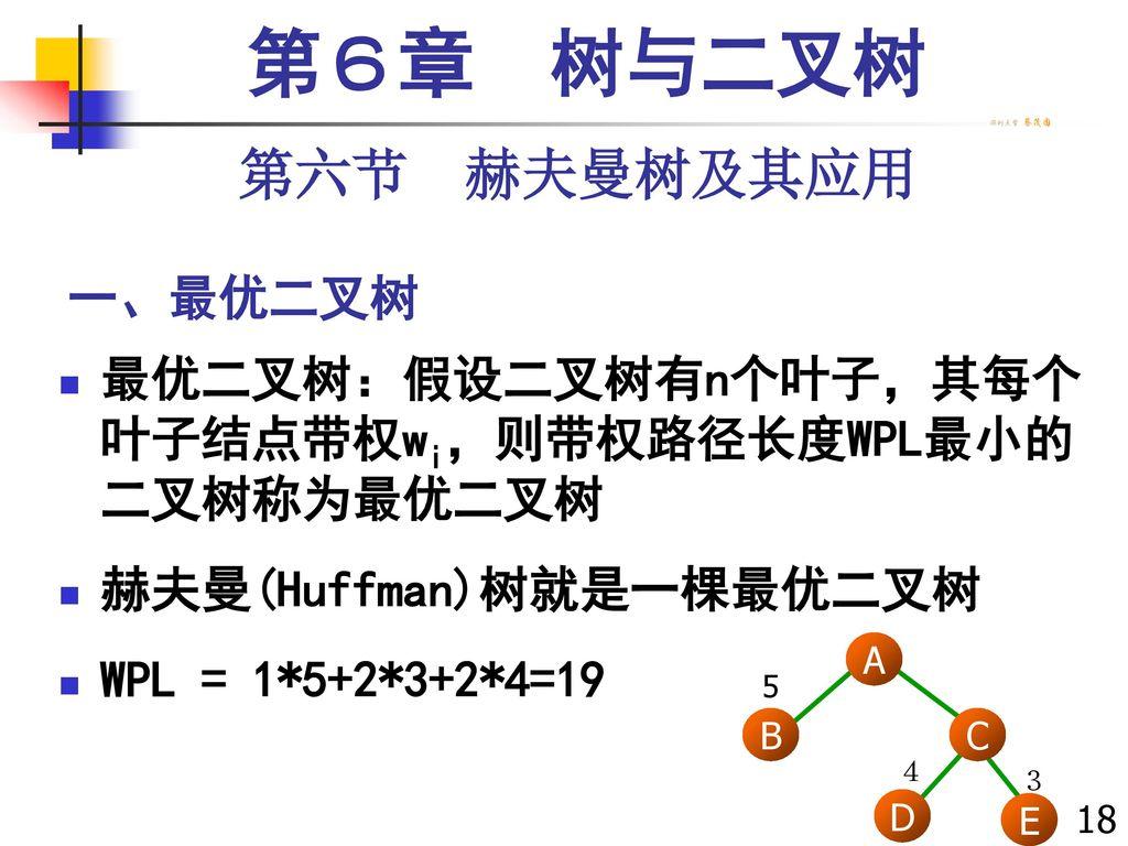 第6章 树与二叉树 第六节 赫夫曼树及其应用 一、最优二叉树